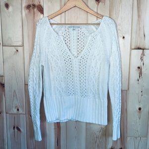 Tommy Hilfiger White Cable Knit V Neck Sweater L